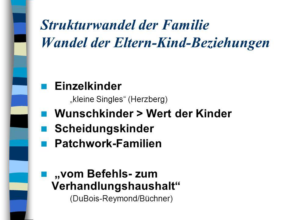 Strukturwandel der Familie Wandel der Eltern-Kind-Beziehungen