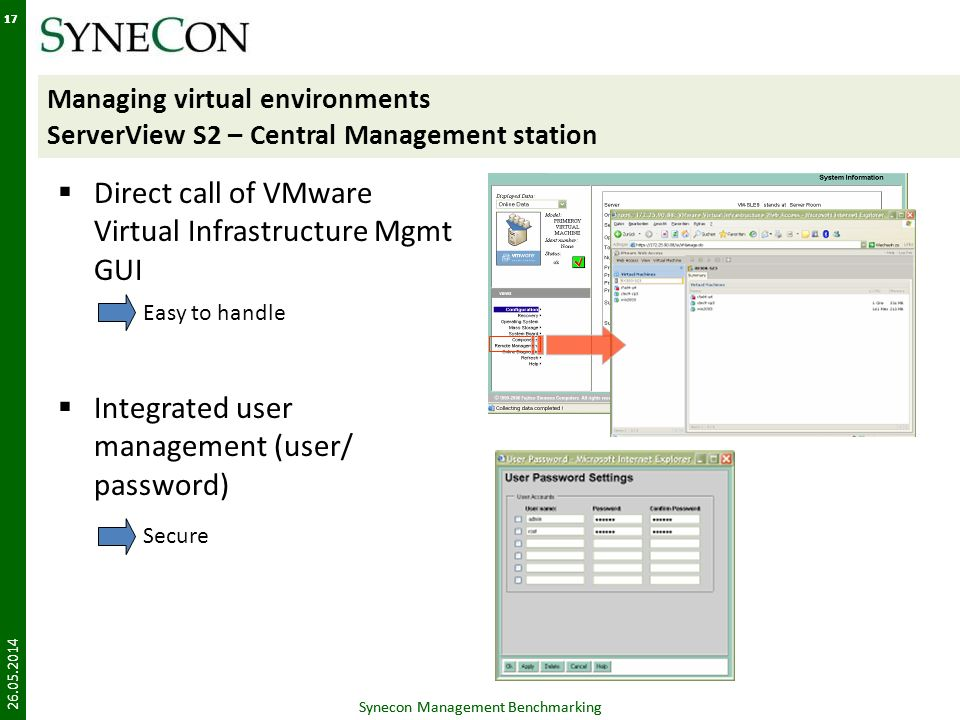 Direct call of VMware Virtual Infrastructure Mgmt GUI