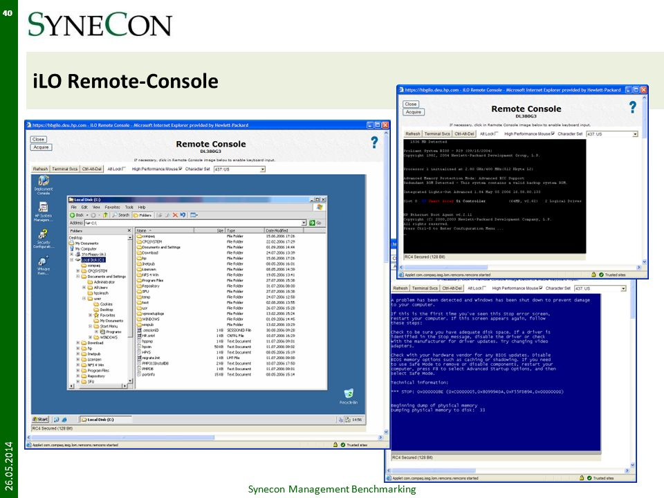 iLO Remote-Console Synecon Management Benchmarking