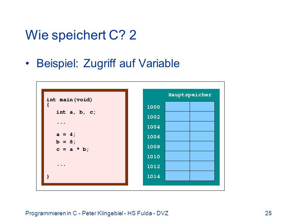 Wie speichert C 2 Beispiel: Zugriff auf Variable