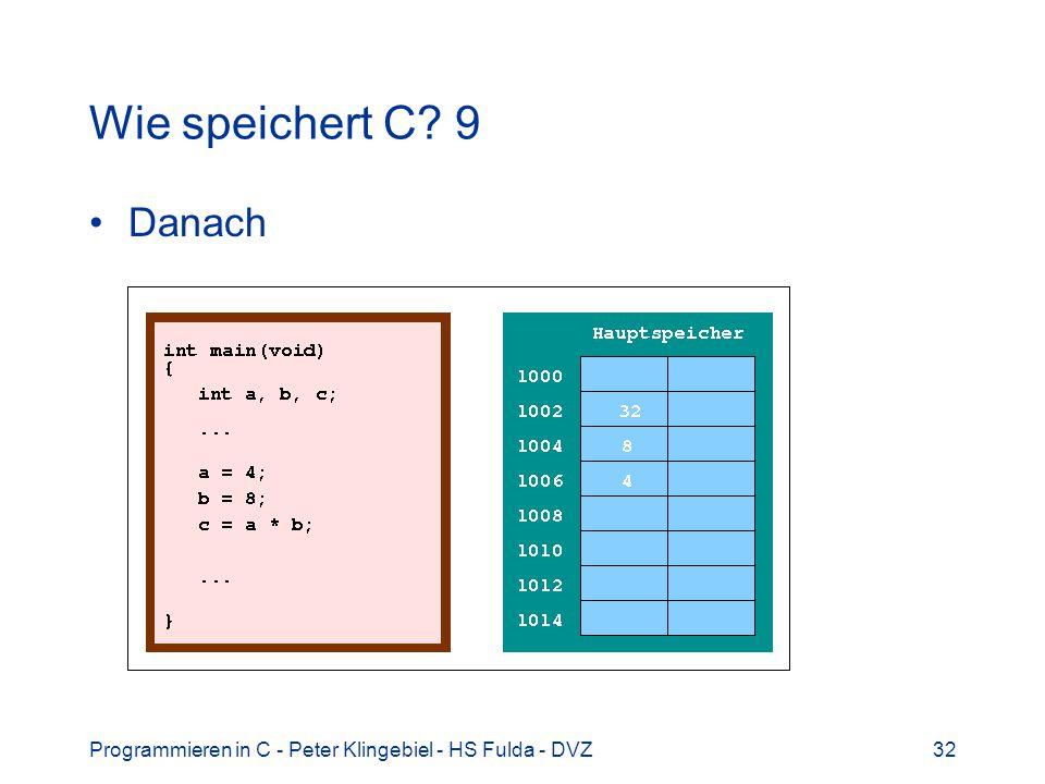 Wie speichert C 9 Danach Programmieren in C - Peter Klingebiel - HS Fulda - DVZ