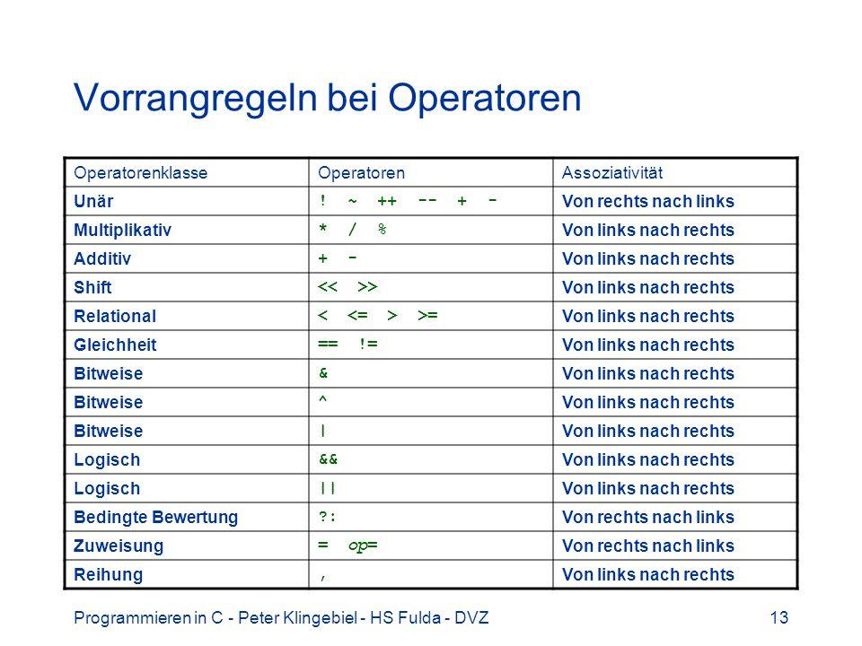 Vorrangregeln bei Operatoren