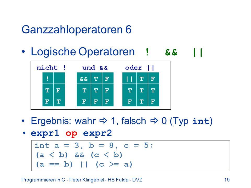 Logische Operatoren ! && ||
