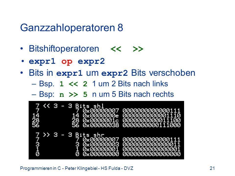 Ganzzahloperatoren 8 Bitshiftoperatoren << >>