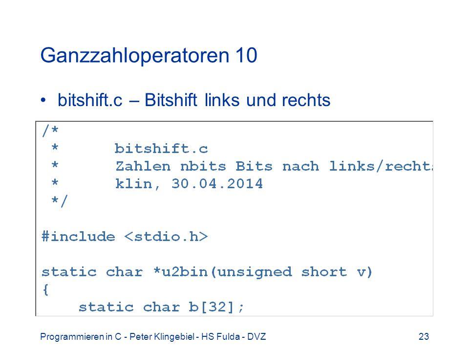 Ganzzahloperatoren 10 bitshift.c – Bitshift links und rechts