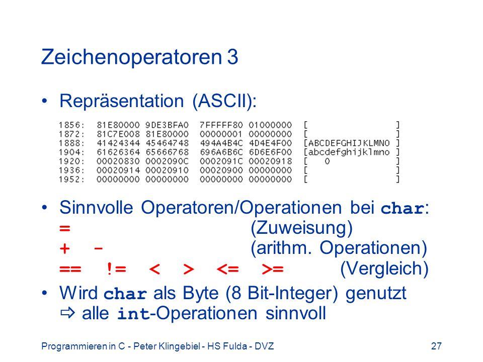 Zeichenoperatoren 3 Repräsentation (ASCII):