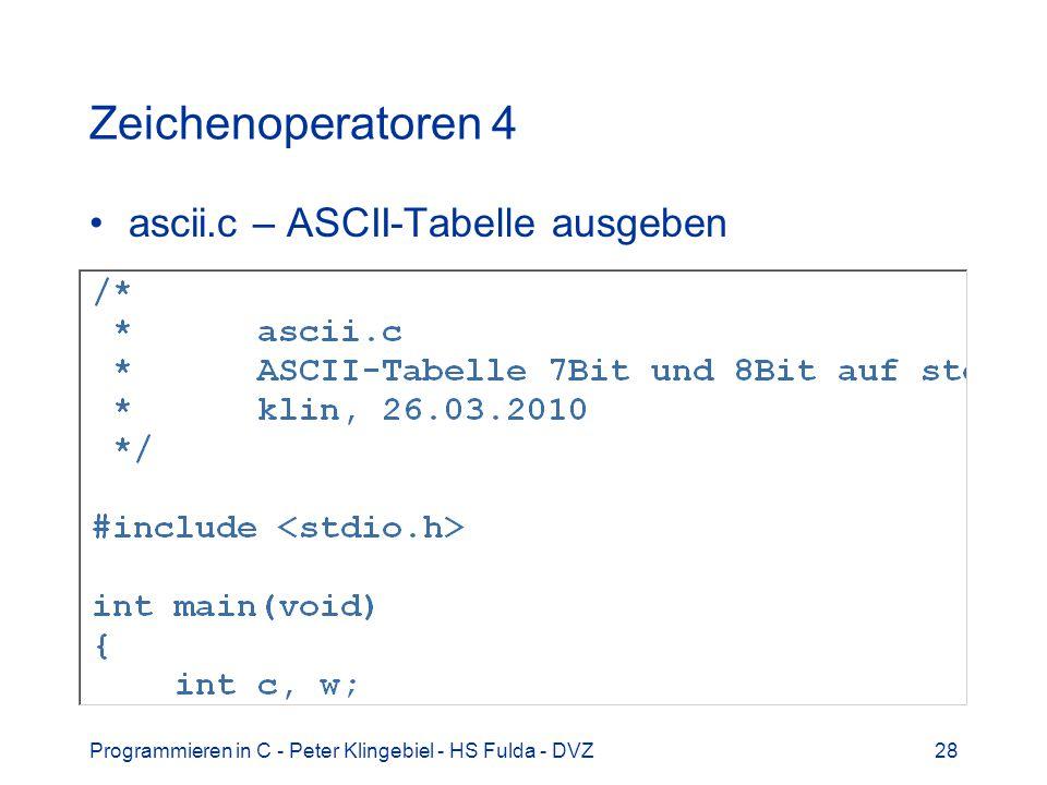 Zeichenoperatoren 4 ascii.c – ASCII-Tabelle ausgeben
