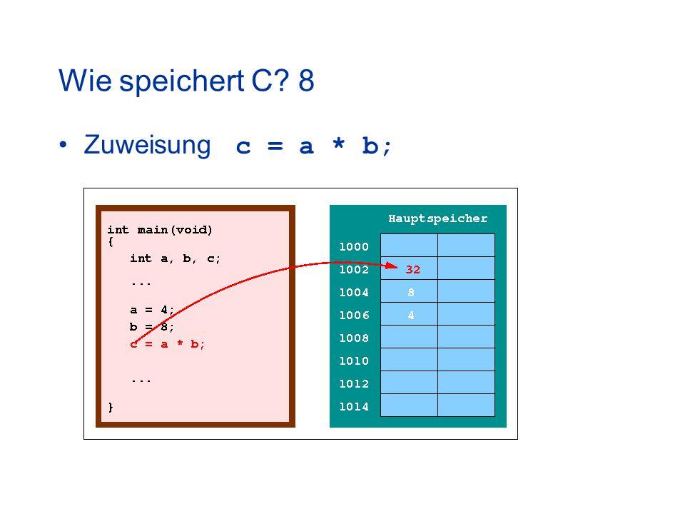 Wie speichert C 8 Zuweisung c = a * b;