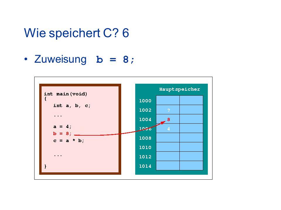 Wie speichert C 6 Zuweisung b = 8;