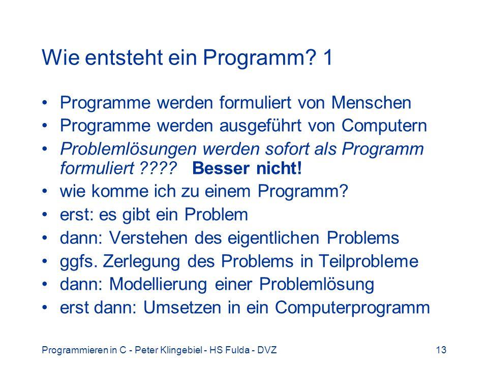 Wie entsteht ein Programm 1