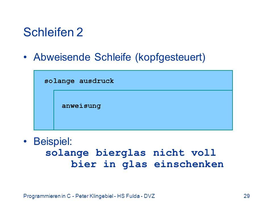 Schleifen 2 Abweisende Schleife (kopfgesteuert)