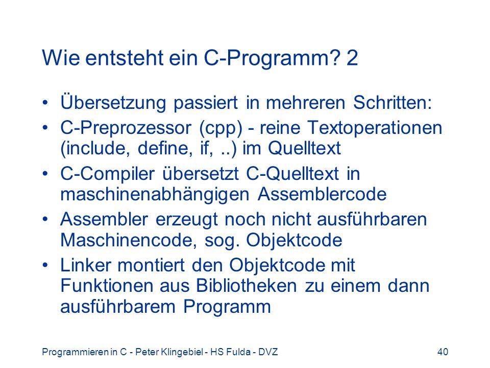 Wie entsteht ein C-Programm 2