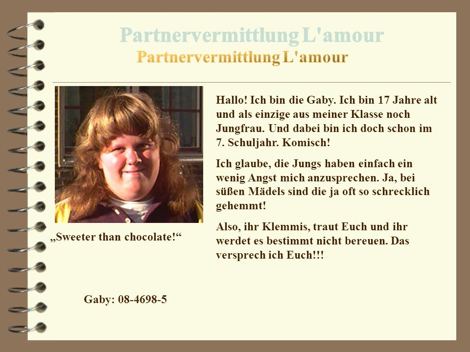 "Partnervermittlung L amour ""Sweeter than chocolate!"