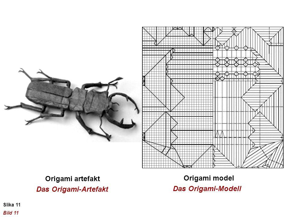 Origami artefakt Origami model Das Origami-Artefakt Das Origami-Modell