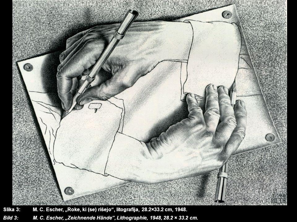 """Slika 3:. M. C. Escher, """"Roke, ki (se) rišejo , litografija, 28. 2×33"""