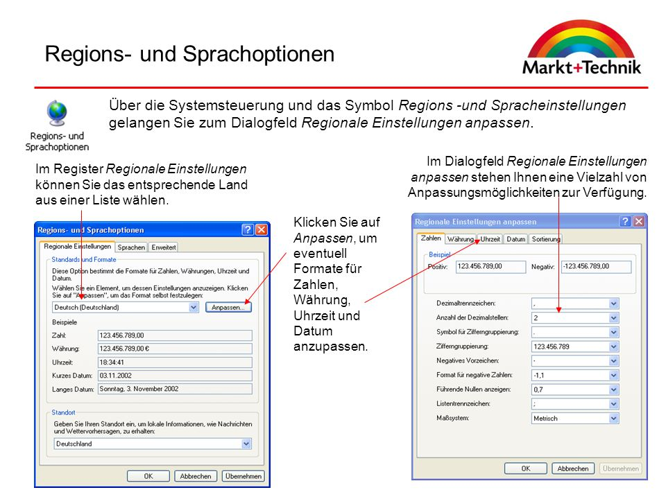 Regions- und Sprachoptionen