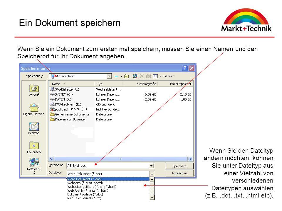 Ein Dokument speichern