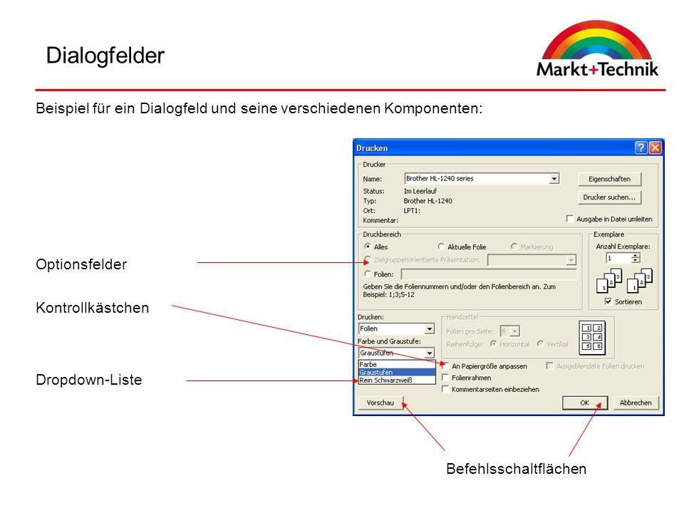 Dialogfelder Beispiel für ein Dialogfeld und seine verschiedenen Komponenten: Optionsfelder. Kontrollkästchen.
