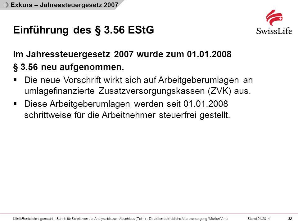 Exkurs – Jahressteuergesetz 2007