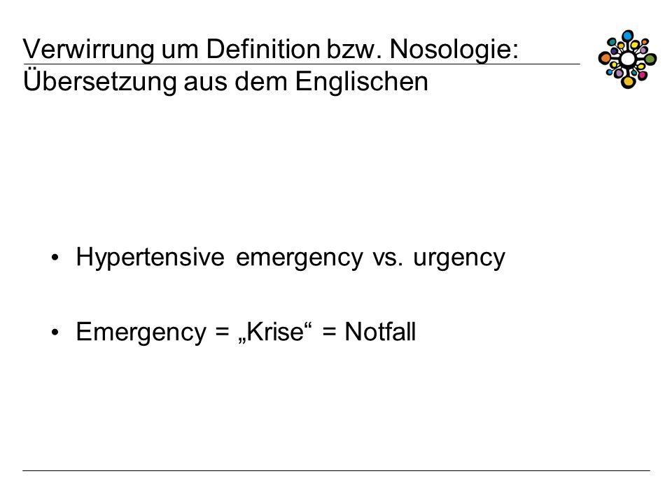 Verwirrung um Definition bzw. Nosologie: Übersetzung aus dem Englischen