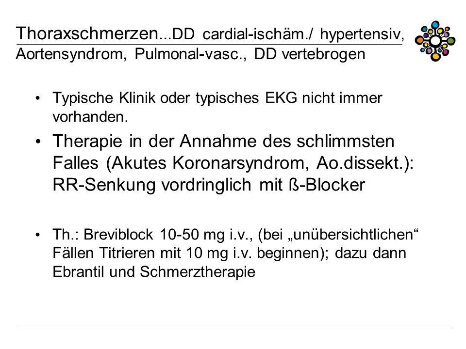 Thoraxschmerzen. DD cardial-ischäm