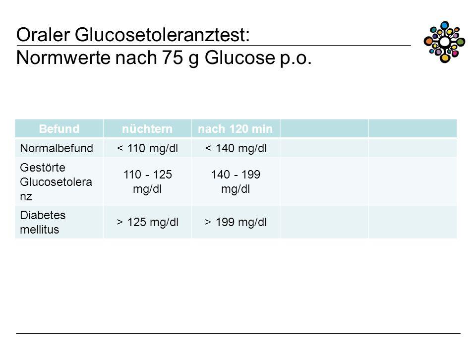 Oraler Glucosetoleranztest: Normwerte nach 75 g Glucose p.o.