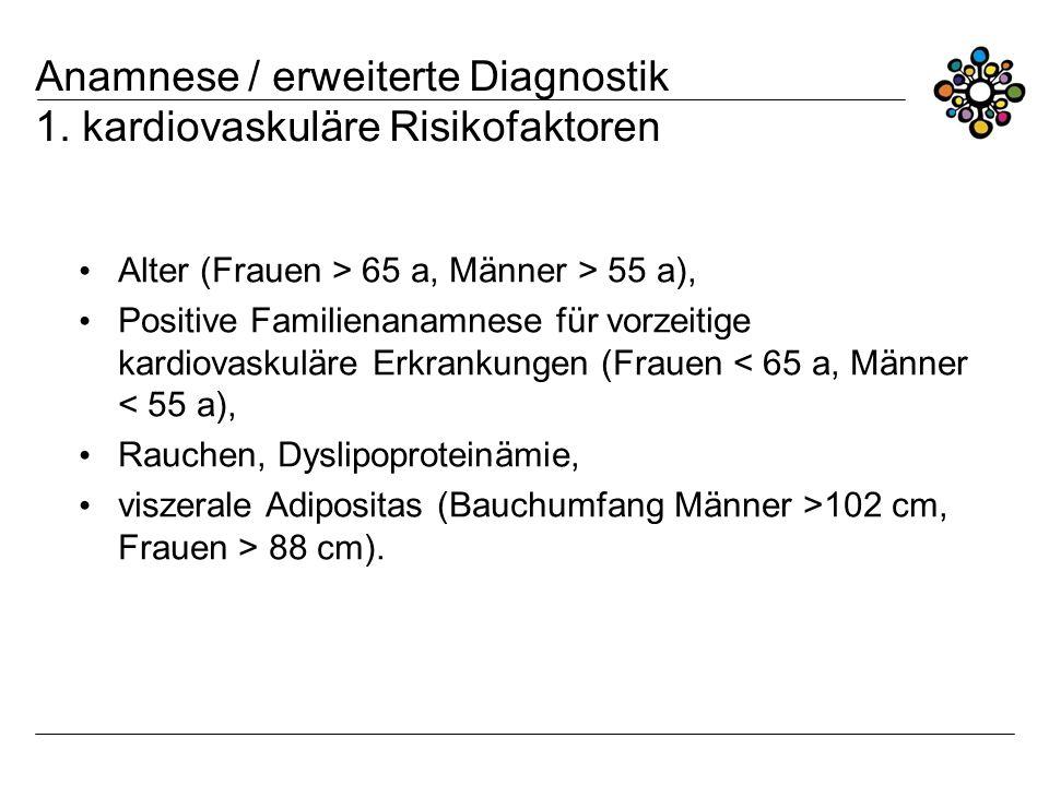 Anamnese / erweiterte Diagnostik 1. kardiovaskuläre Risikofaktoren