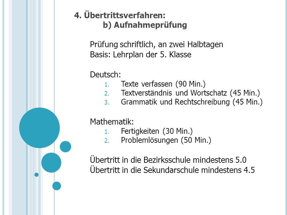 4. Übertrittsverfahren: b) Aufnahmeprüfung