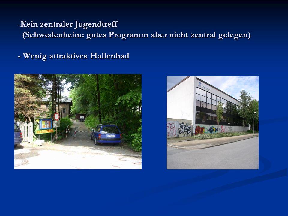 Kein zentraler Jugendtreff (Schwedenheim: gutes Programm aber nicht zentral gelegen) - Wenig attraktives Hallenbad