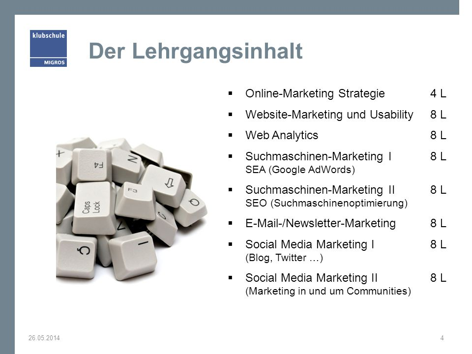 Der Lehrgangsinhalt Online-Marketing Strategie 4 L