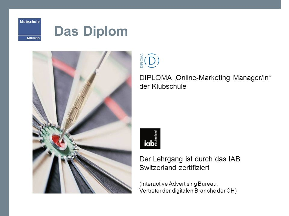 "Das Diplom DIPLOMA ""Online-Marketing Manager/in der Klubschule"