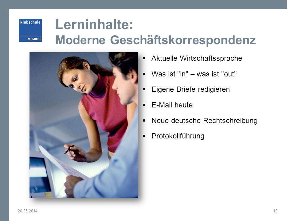 Lerninhalte: Moderne Geschäftskorrespondenz