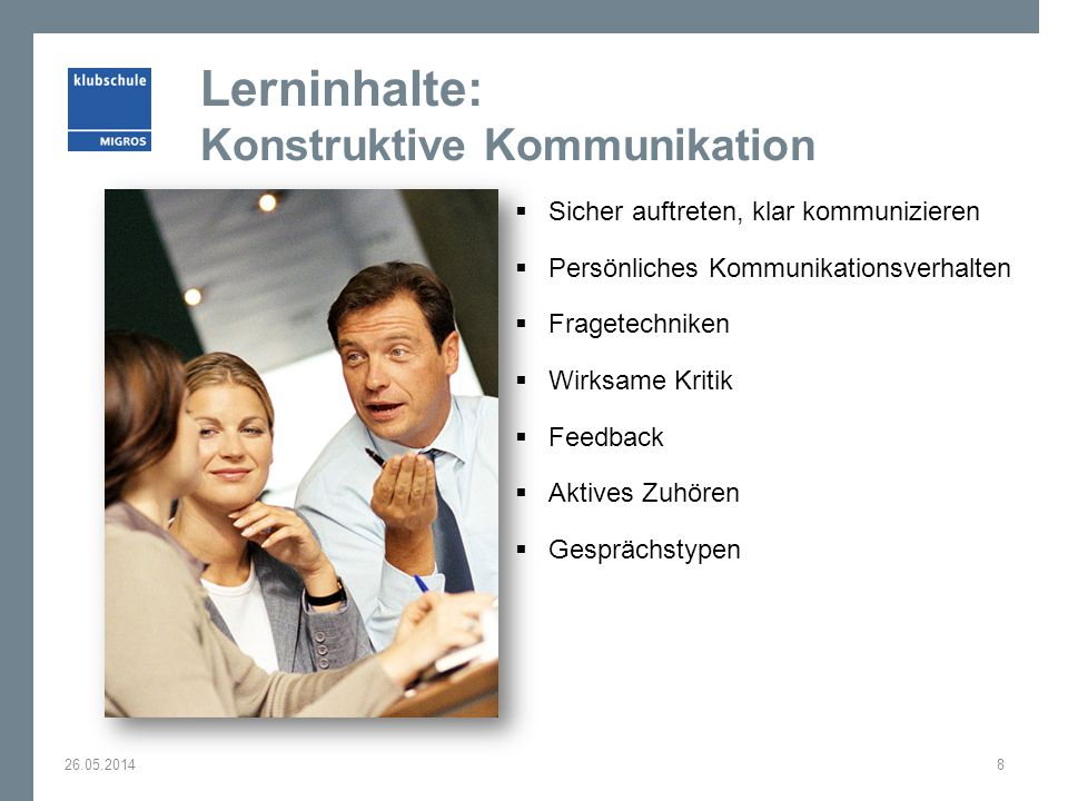 Lerninhalte: Konstruktive Kommunikation