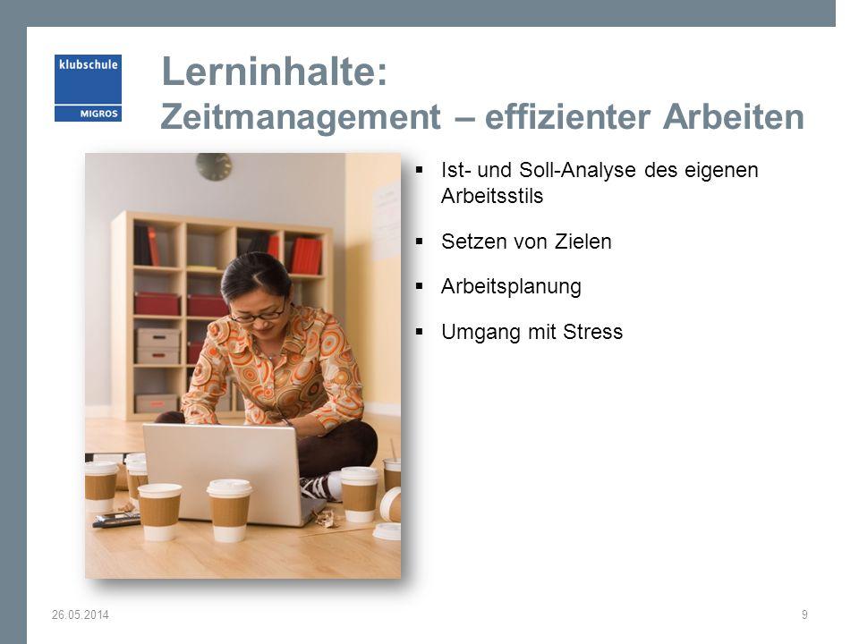 Lerninhalte: Zeitmanagement – effizienter Arbeiten