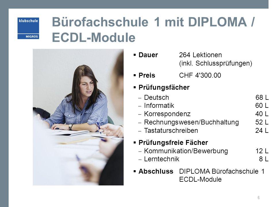 Bürofachschule 1 mit DIPLOMA / ECDL-Module