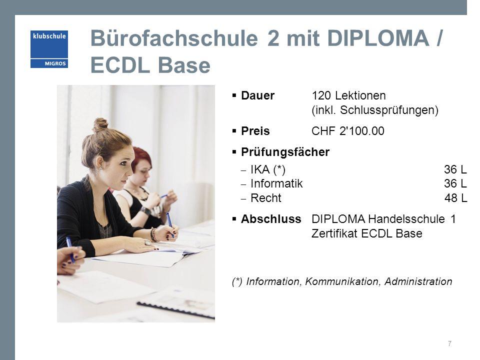 Bürofachschule 2 mit DIPLOMA / ECDL Base