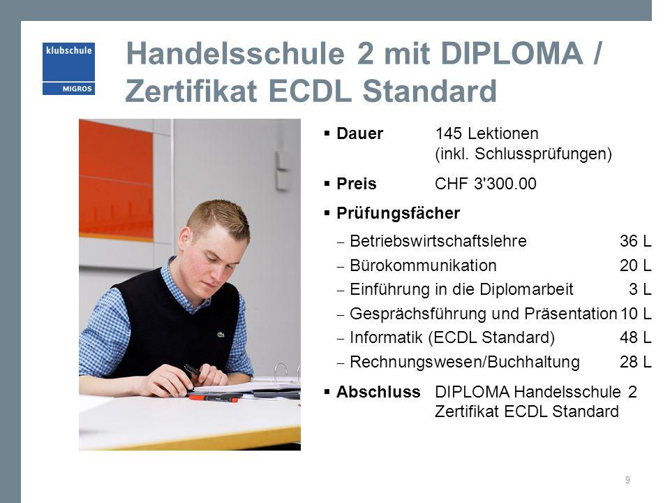 Handelsschule 2 mit DIPLOMA / Zertifikat ECDL Standard