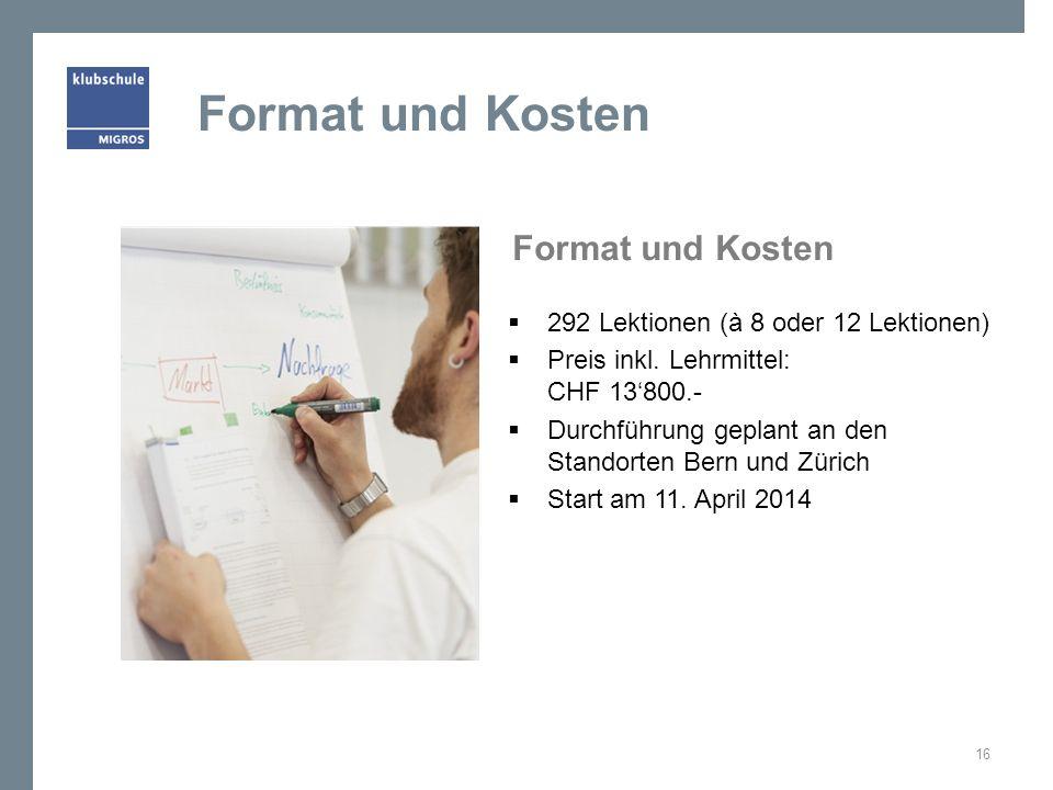 Format und Kosten Format und Kosten
