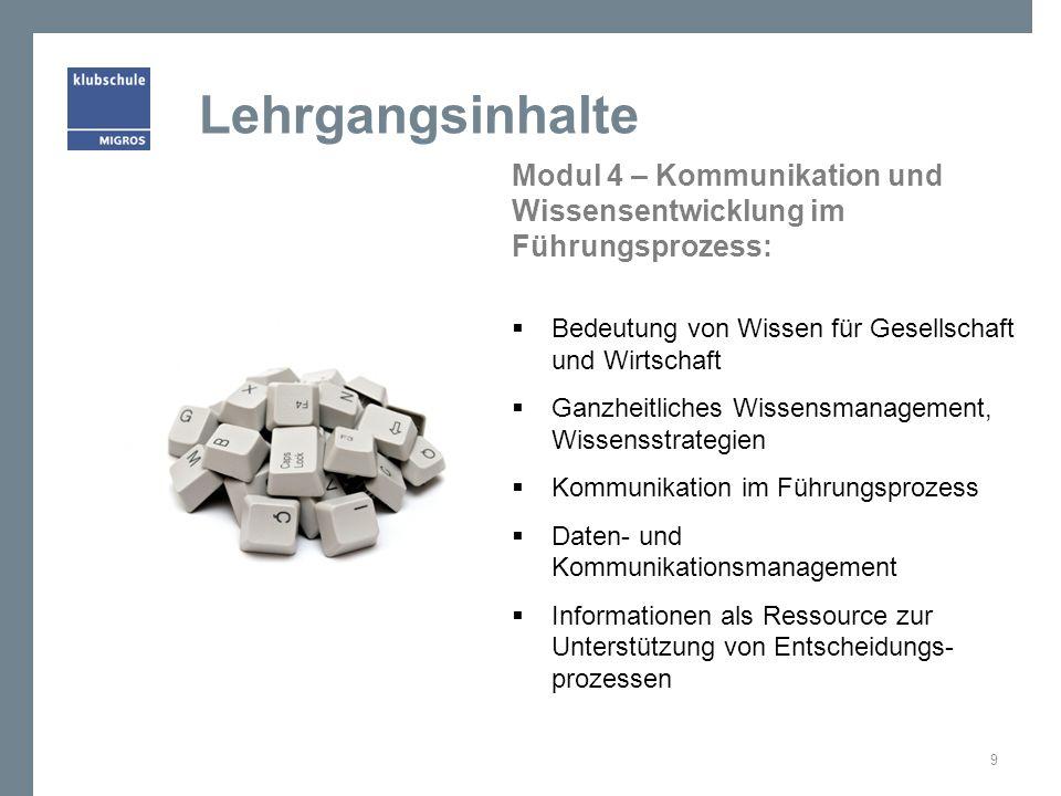 Lehrgangsinhalte Modul 4 – Kommunikation und Wissensentwicklung im Führungsprozess: Bedeutung von Wissen für Gesellschaft und Wirtschaft.