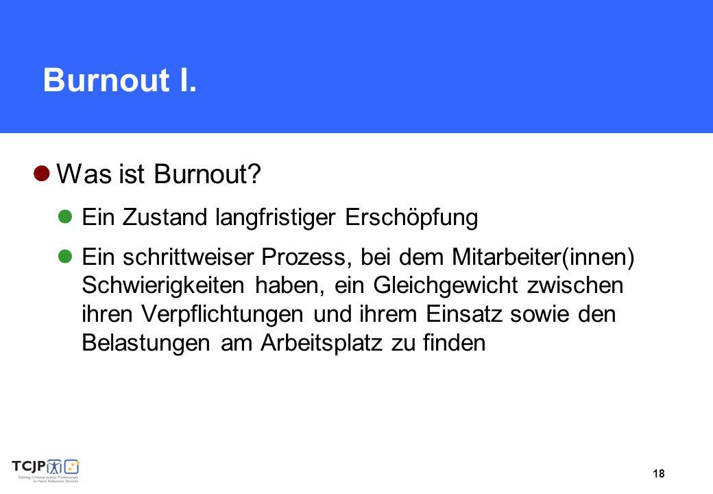Burnout I. Was ist Burnout Ein Zustand langfristiger Erschöpfung