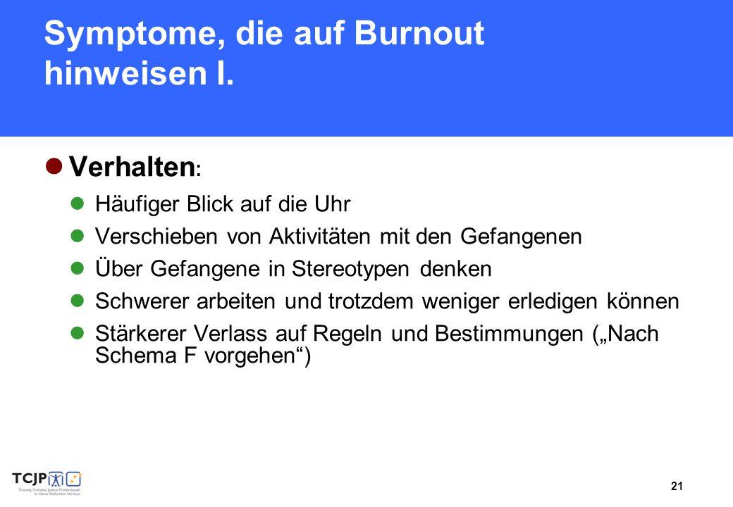Symptome, die auf Burnout hinweisen I.
