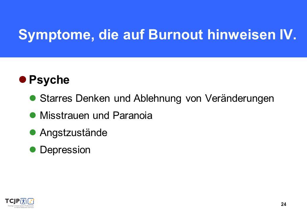 Symptome, die auf Burnout hinweisen IV.