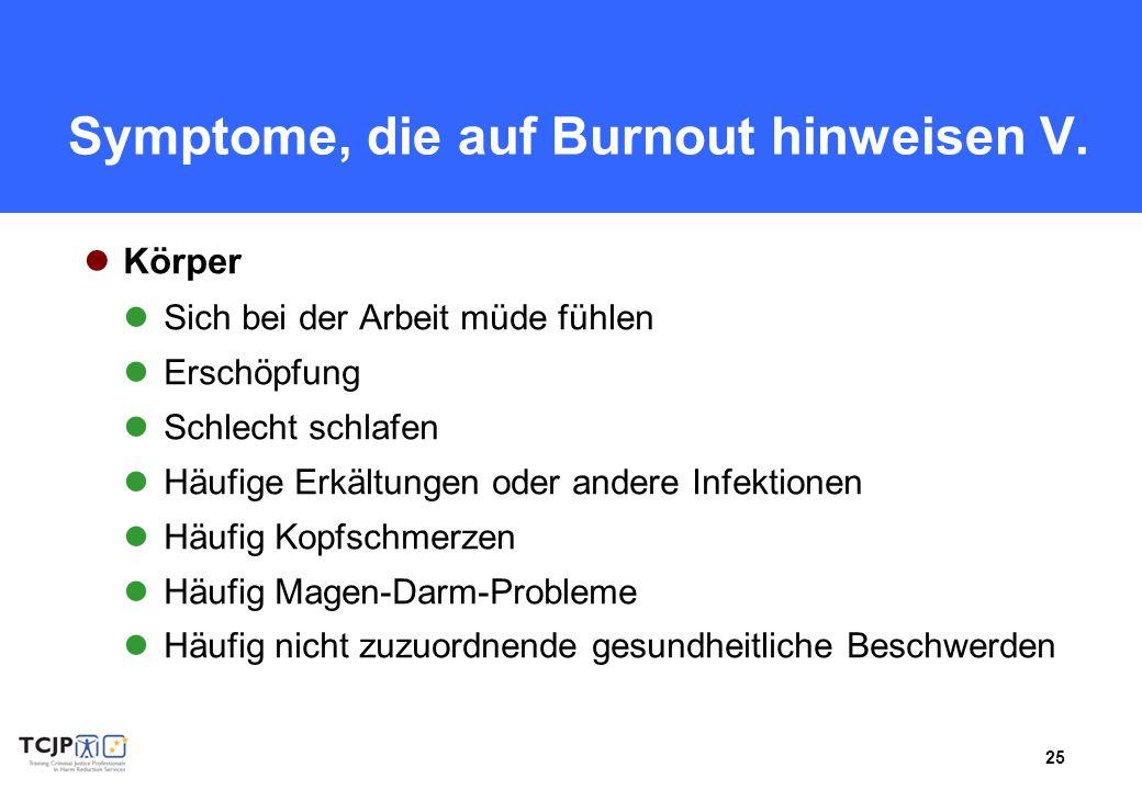 Symptome, die auf Burnout hinweisen V.