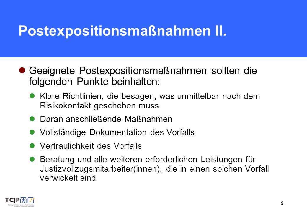 Postexpositionsmaßnahmen II.
