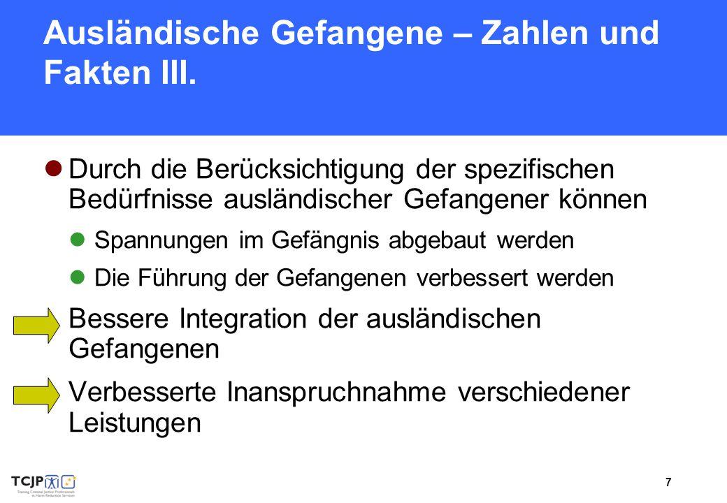 Ausländische Gefangene – Zahlen und Fakten III.