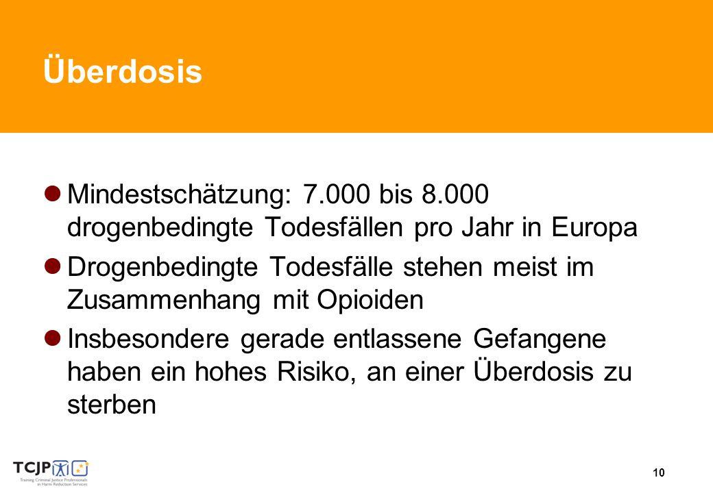 Überdosis Mindestschätzung: 7.000 bis 8.000 drogenbedingte Todesfällen pro Jahr in Europa.