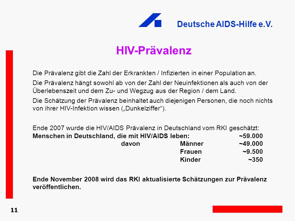 HIV-Prävalenz Die Prävalenz gibt die Zahl der Erkrankten / Infizierten in einer Population an.