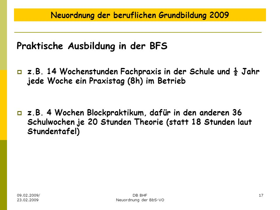 Neuordnung der beruflichen Grundbildung 2009