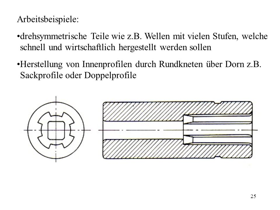 Arbeitsbeispiele: drehsymmetrische Teile wie z.B. Wellen mit vielen Stufen, welche schnell und wirtschaftlich hergestellt werden sollen.