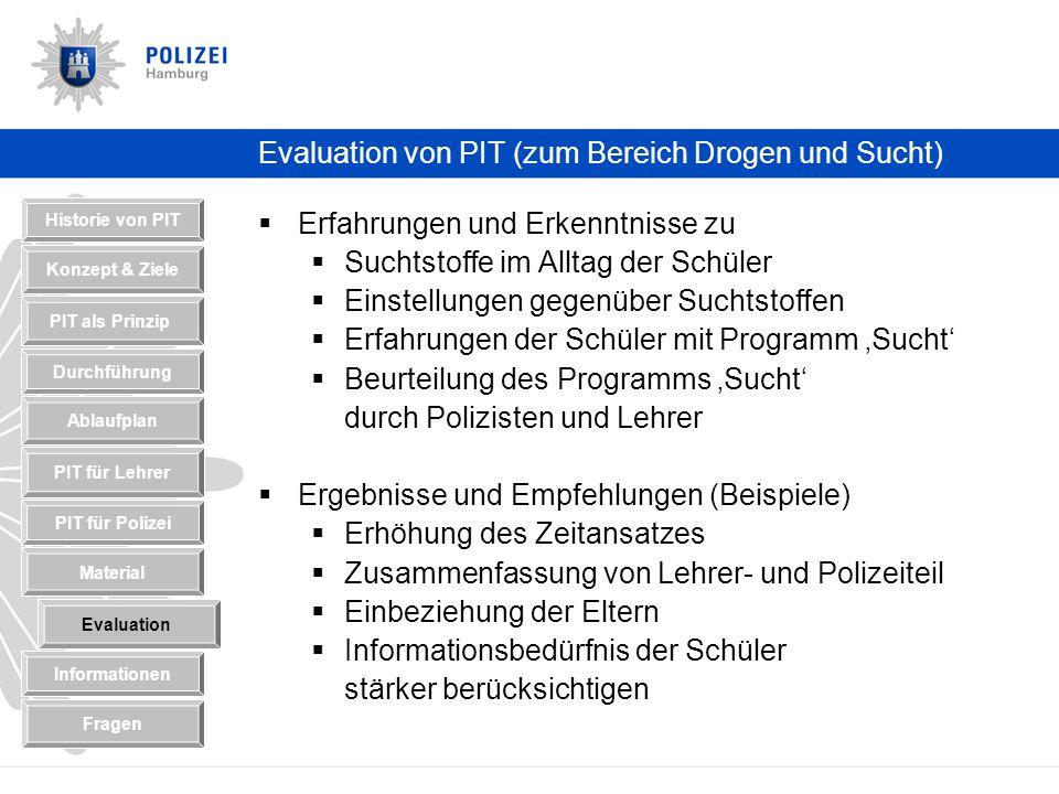 Evaluation von PIT (zum Bereich Drogen und Sucht)